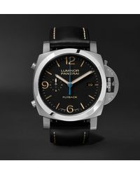 Panerai Luminor 1950 3 Days Chrono Flyback Automatic Acciaio 44mm Stainless Steel And Leather Watch, Ref. No. Pam00524 - Black