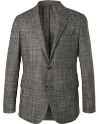 Hackett - Grey Unstructured Checked Mouline Wool, Silk And Cashmere-blend Blazer - Lyst