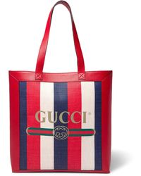 Gucci - Leather-trimmed Logo-print Striped Canvas Tote Bag - Lyst