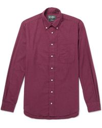 Gitman Brothers Vintage - Slim-fit Button-down Collar Cotton-flannel Shirt - Lyst