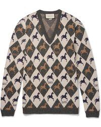 Gucci Wool-jacquard Sweater - Gray