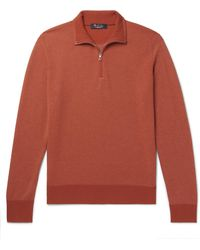 Loro Piana Roadster Striped Cashmere Half-zip Jumper - Orange