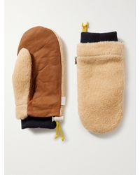 The North Face Leather-trimmed Fleece Mittens - Multicolour