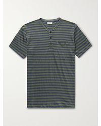 Schiesser Helmut Striped Linen-jersey Henley T-shirt - Green