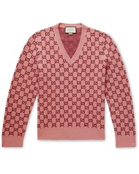 Gucci GG Monogram Felted-wool Blend V-neck Jumper - Pink