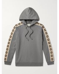Gucci Oversized Webbing-trimmed Loopback Cotton-jersey Hoodie - Grey