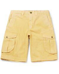 Incotex - - Herringbone Washed-cotton Cargo Shorts - Yellow - Lyst