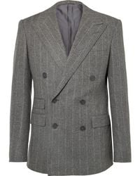 Ralph Lauren Purple Label - Grey Gregory Double-breasted Pinstriped Wool Suit Jacket - Lyst