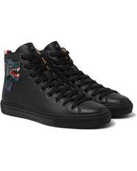 Gucci Major Wolf-appliquéd Full-grain Leather High-top Sneakers - Black