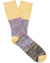 Thunders Love Charlie Colour-block Mélange Cotton-blend Socks - Yellow