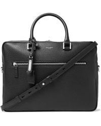 Saint Laurent - Full-grain Leather Briefcase - Lyst