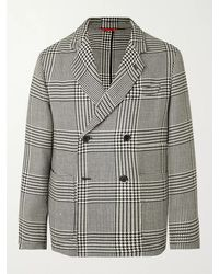 Barena Unstructured Double-breasted Prince Of Wales Checked Wool-blend Blazer - Multicolour