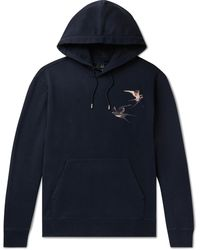 Dunhill Embroidered Loopback Cotton-jersey Hoodie - Blue