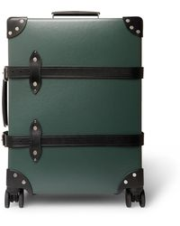 """Globe-Trotter No Time To Die 20"""" Leather-trimmed Carry-on Suitcase - Green"""