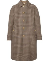 Gucci Reversible Logo-jacquard Cotton-blend Canvas And Houndstooth Wool Coat - Brown