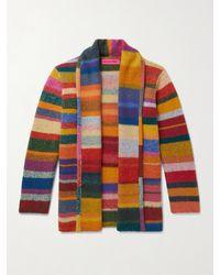 The Elder Statesman Shawl-collar Striped Cashmere Cardigan - Multicolour