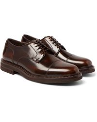 Brunello Cucinelli - Burnished-leather Cap-toe Derby Shoes - Lyst