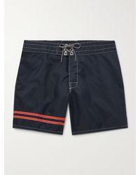 Birdwell Skipper Mid-length Striped Surfnyl Swim Shorts - Blue