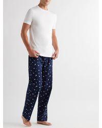 Derek Rose Printed Cotton Pyjama Trousers - Blue