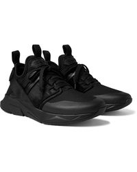 Tom Ford Vellus Suede And Rubber-trimmed Neoprene And Mesh Trainers - Black