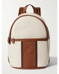 Serapian Canvas And Full-grain Leather Backpack - Brown