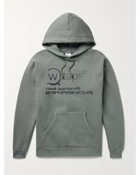 WTAPS Logo-print Fleece-back Cotton-jersey Hoodie - Green