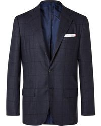 Kiton Slim-fit Prince Of Wales Checked Cashmere Suit Jacket - Blue