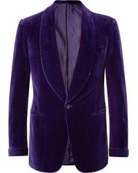 Ralph Lauren Purple Label Purple Gregory Slim-fit Shawl-collar Cotton-velvet Tuxedo Jacket