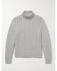 Canali Cable-knit Cashmere Rollneck Jumper - Grey