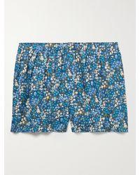 Sunspel Floral-print Cotton Boxer Shorts - Blue