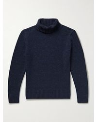Inis Meáin Donegal Merino Wool And Cashmere-blend Rollneck Jumper - Blue