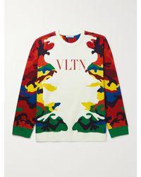 Valentino Camouflage-print Cotton-blend Jersey Sweatshirt - Multicolour