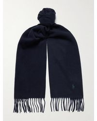 Polo Ralph Lauren Logo-embroidered Fringed Cashmere Scarf - Blue