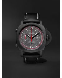 Panerai Luminor Luna Rossa Automatic Flyback Chronograph 44mm Ceramic And Leather Watch - Black
