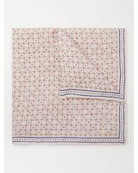 Brunello Cucinelli Printed Linen And Cotton-blend Pocket Square - Multicolour