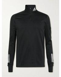 adidas Originals Own The Run Logo-print Recycled Aeroready Half-zip Jumper - Black