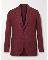 De Petrillo Unstructured Linen Suit Jacket
