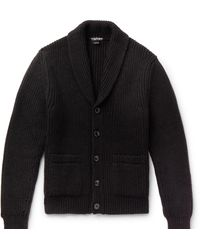 Tom Ford Shawl-collar Cable-knit Cashmere And Mohair-blend Cardigan - Black