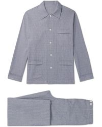 Anderson & Sheppard Prince Of Wales Checked Cotton Pyjama Set - Blue