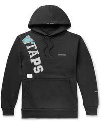 WTAPS Katz Logo-appliquéd Printed Fleece-back Cotton-blend Jersey Hoodie - Black
