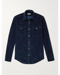 Boglioli Garment-dyed Cotton-velvet Western Shirt - Blue