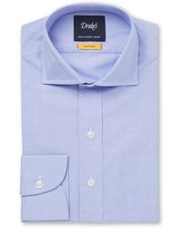 Drake's - Easyday Light-blue Cutaway-collar End-on-end Cotton Shirt - Lyst