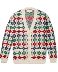 Gucci Argyle Alpaca Wool Cardigan - Multicolour