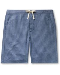 Oliver Spencer Townsend Striped Cotton Pajama Shorts - Blue