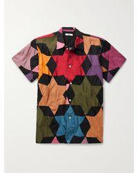 Bode Rainbow Star Quilt Patchwork Cotton Shirt - Black