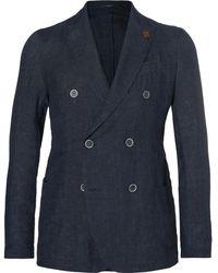 Lardini | Navy Slim-fit Unstructured Double-breasted Linen Blazer | Lyst