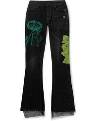 Off-White c/o Virgil Abloh Mesh-panelled Distressed Denim Flared Jeans - Black