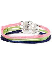 Rubinacci Set Of Three Silk And Sterling Silver Bracelets - Multicolour