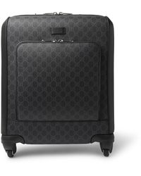 Gucci Gran Turismo Leather-trimmed Monogrammed Coated-canvas Carry-on Suitcase - Black