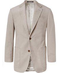 Richard James Stone Slim-fit Cotton-corduroy Suit Jacket - Grey